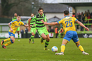 Forest Green Rovers Darren Carter(12) goes in for a tackle during the Vanarama National League match between Forest Green Rovers and Torquay United at the New Lawn, Forest Green, United Kingdom on 1 January 2017. Photo by Shane Healey.