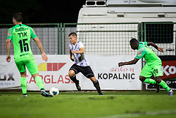 Klemen Šturm of Mura and Ernest Mabouka of Maccabi Haifa during Football match between NS Mura (SLO) and Maccabi Haifa (IZR) in First qualifying round of UEFA Europa League 2019/20, on July 18, 2019, in Stadium Fazanerija, Murska Sobota, Slovenia. Photo by Blaž Weindorfer / Sportida