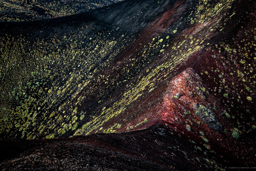 Etna crater colors. Sicily, Italy
