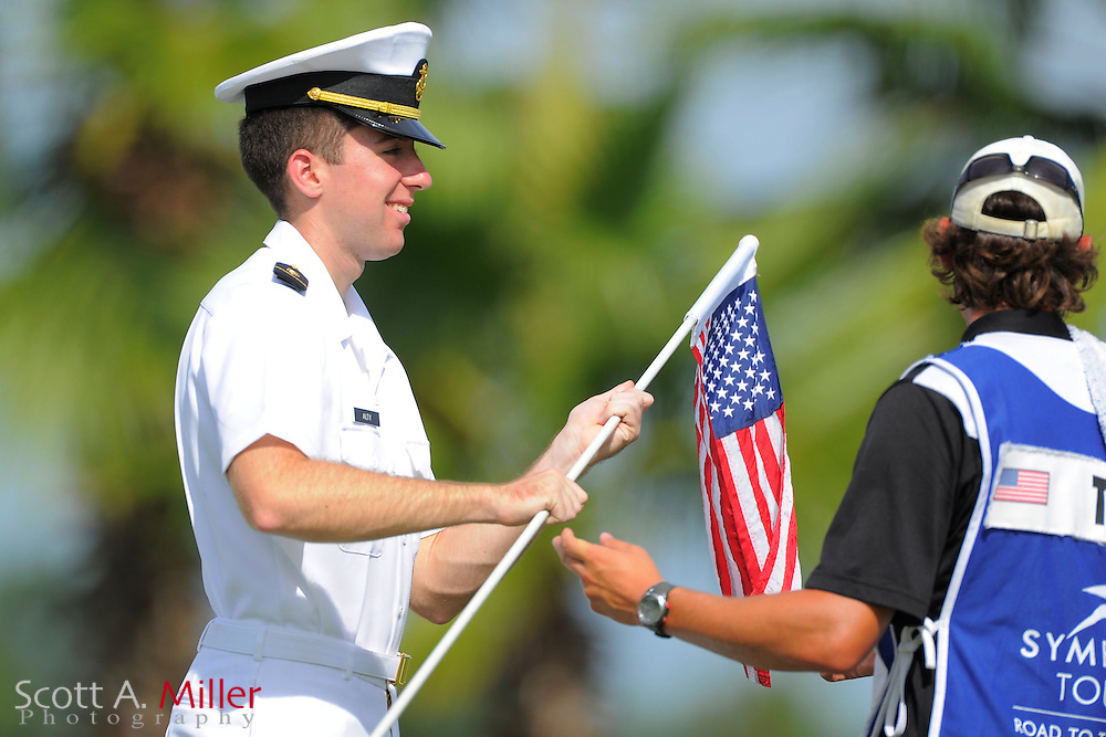 Naval color guard in action during the final round of the Daytona Beach Invitational  at LPGA International on Sep 30, 2012 in Daytona Beach, Florida...©2012 Scott A. Miller