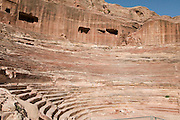 Middle East, Jordan, Petra, UNESCO World Heritage Site. The Nabataean Amphitheatre carved in the mountain side