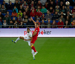 10.09.2013, Stamford Bridge, Cardiff, ENG, FIFA WM Qualifikation, Wales vs Serbien, Rueckspiel, im Bild Wales' Sam Vokes, right jumps for the ball with Serbia's Ivan Radovanovic during the FIFA World Cup Qualifier second leg Match between Wales and Serbia at the Stamford Bridge stadium in Cardiff, Great Britain on 2013/09/10. EXPA Pictures © 2013, PhotoCredit: EXPA/ Propagandaphoto/ Tom Hevezi<br /> <br /> ***** ATTENTION - OUT OF ENG, GBR, UK *****