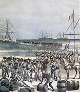 Second Franco-Dahomean War 1892-1894: Senegalese French Foreign Reservists disembarking  at Kontonou. From 'Le Petit Journal', 21 May 1892.  Africa, France, Dahomey, Benin, Colonialism