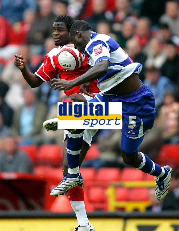 Photo: Tom Dulat.<br /> <br /> Charlton Athletic v Queens Park Rangers. Coca Cola Championship. 27/10/2007.<br /> <br /> Damion Stewart of Queens Park Rangers and Sam Sodje of Charlton Athletic heading for the ball.