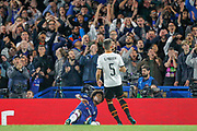 Chelsea midfielder Willian (10) fluffs a chance in front of the Valencia goal, during the Champions League match between Chelsea and Valencia CF at Stamford Bridge, London, England on 17 September 2019.