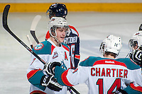 KELOWNA, CANADA -FEBRUARY 1: Damon Severson #7 of the Kelowna Rockets celebrates a goal against the Kamloops Blazers on February 1, 2014 at Prospera Place in Kelowna, British Columbia, Canada.   (Photo by Marissa Baecker/Getty Images)  *** Local Caption *** Damon Severson;