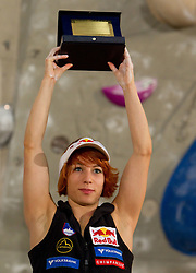 Overall combined third placed  Natalija Gros of Austria at Trophy ceremony during Final IFSC World Cup Competition in sport climbing Kranj 2010, on November 14, 2010 in Arena Zlato polje, Kranj, Slovenia. (Photo By Vid Ponikvar / Sportida.com)