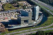 Nederland, Overijssel, Gemeente Zwolle, 03-10-2010; kantorenpark Voorsterpoort met IJsseltoren, huisvest ABN AMRO, Essent. Rechts de A28..Office park Voorsterpoort with  IJsseltoren (houses ABN AMRO, Essent). A28 right..luchtfoto (toeslag), aerial photo (additional fee required).foto/photo Siebe Swart