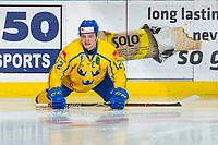 KELOWNA, BC - DECEMBER 18:  Erik Brännström #12 of Team Sweden stretches on the ice during warm up against the Team Russia at Prospera Place on December 18, 2018 in Kelowna, Canada. (Photo by Marissa Baecker/Getty Images)***Local Caption***