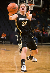 Colorado guard Kelly Jo Mullaney (32) in action against UVA.  The #16 ranked Virginia Cavaliers women's basketball team defeated the Colorado Buffaloes 77-43 at the John Paul Jones Arena on the Grounds of the University of Virginia in Charlottesville, VA on November 24, 2008.
