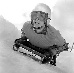 MARK St.GILES on a skeleton at The Cresta Run, St.Moritz, Switzerland in January 1960.