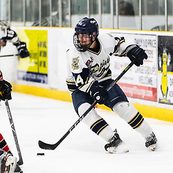 TORONTO, ON - APR 10, 2018: Ontario Junior Hockey League, South West Conference Championship Series. Game seven of the best of seven series between the Georgetown Raiders and the Toronto Patriots, Oliver Benwell #14 of the Toronto Patriots turns inside toward the net during the second period.<br /> (Photo by Kevin Raposo / OJHL Images)