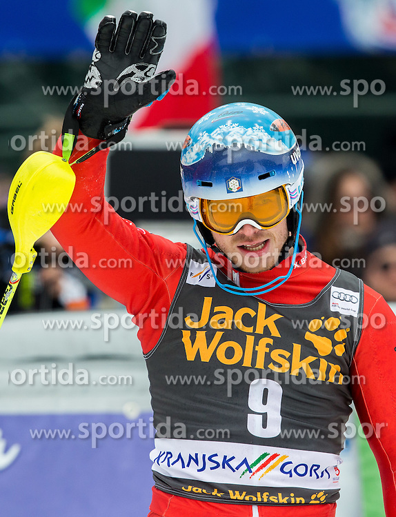 Second placed RAZZOLI Giuliano of Italy celebrates during 2nd Run at Men Slalom race of FIS Alpine Ski World Cup 54th Vitranc Cup 2015, on March 15, 2015 in Kranjska Gora, Slovenia. Photo by Vid Ponikvar / Sportida