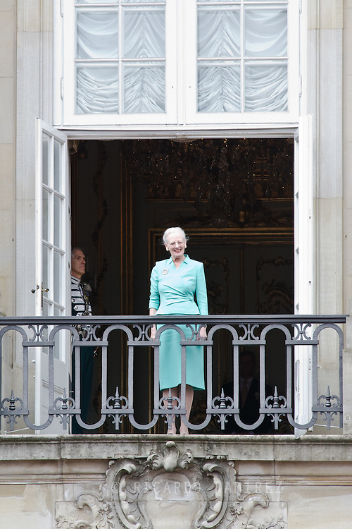 16.04.2015. Copenhagen, Denmark.<br /> Queen Margarethe II of Denmark waves from a balcony at Amalienborg Palace during festivities for her 75th birthday.<br /> Photo:© Ricardo Ramirez