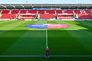 A General view inside the AESSEAL New York Stadium with the Sky Bet banner in the center circle prior to the EFL Sky Bet Championship match between Rotherham United and Stoke City at the AESSEAL New York Stadium, Rotherham, England on 29 September 2018.