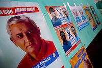 Guatemala La Democracia,Banners line the walls for Presidential Candidate, Otto Perez Molina, of the Patriotic Party before he speaks at a rally in La Democracia Guatemala, Thursday Sept 6, 2007.  (photo by/ Darren Hauck)..