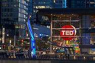 The main entrance to the Vancouver Convention Center during the TED 2017 Conference in Vancouver, British Columbia, Canada.