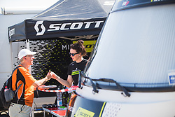 Sarah Roy (AUS) of Mitchelton Scott Cycling Team chats to a fan before Stage 1 of the Madrid Challenge - a 12.6 km team time trial, starting and finishing in Boadille del Monte on September 15, 2018, in Madrid, Spain. (Photo by Balint Hamvas/Velofocus.com)