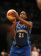 June 10, 2010; Phoenix, AZ, USA; Minnesota Lynx forward Nicky Anosike shoots a free throw during the first half in at US Airways Center.  Mandatory Credit: Jennifer Stewart-US PRESSWIRE