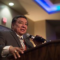 Senator Benny Shendo of District 22 addresses the crowd  during the McKinley County-Gallup Day Gala Reception at the Eldorado Hotel in Santa Fe Thursday.