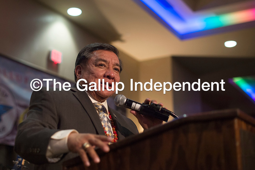 Senator Benny Shendo of District 22 addresses the crowd  during the McKinley County-Gallup Day Gala Reception at the Eldorado Hotel in Santa Fe Thursday.