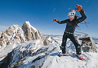 Ryan Mertaugh of Jackson twirls a hula hoop on the summit of the Middle Teton after a winter ascent of the 12,804-foot peak in Grand Teton National Park. Mertaugh has embarked on a mission to hula hoop on the summit of each of the major peaks in the central Teton Range.