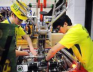 Archbishop Wood's Mike Donaghy and Griffin Della Grotte give their teams robot a last minute checkup before competing in the 2016 First Mid-Atlantic First Robotics Competition at Hatboro Horsham High School Saturday March 5, 2016 in Horsham, Pennsylvania. (Photo by William Thomas Cain)