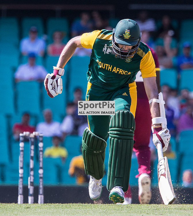 ICC Cricket World Cup 2015 Tournament Match, South Africa v West Indies, Sydney Cricket Ground; 27th February 2015<br /> South Africa&rsquo;s Hashim Amla runs in for a quick single