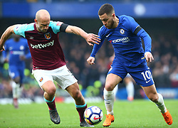 April 8, 2018 - London, England, United Kingdom - Chelsea's Eden Hazard beats West Ham United's Pablo Zabaleta.during English Premier League match between Chelsea and West Ham United at Stamford Bridge, London, England on 08 April 2018. (Credit Image: © Kieran Galvin/NurPhoto via ZUMA Press)