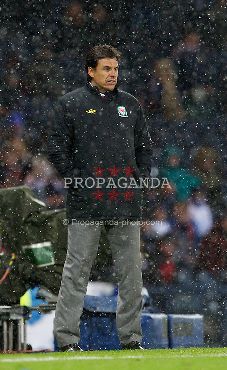 GLASGOW, SCOTLAND - Friday, March 22, 2013: Wales' manager Chris Coleman during the 2014 FIFA World Cup Brazil Qualifying Group A match against Scotland at Hampden Park. (Pic by David Rawcliffe/Propaganda)