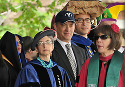 Tom Hanks gives Yale University Commencement Speech on Old Campus during Class Day Ceremonies. 22 May 2011, New Haven, CT. On stage, all with the traditional Yale Class Day fun headgear.