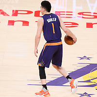 06 November 2016: Phoenix Suns guard Devin Booker (1) brings the ball up court during the LA Lakers 119-108 victory over the Phoenix Suns, at the Staples Center, Los Angeles, California, USA.