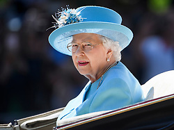© Licensed to London News Pictures. 09/06/2018. London, UK. QUEEN ELIZABRTH II attends Trooping The Colour ceremony in London to mark the 92nd birthday of Queen Elizabeth II, Britain's longest reigning monarch. Photo credit: Ben Cawthra/LNP