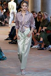 Model Gigi Hadid walks on the runway during the Alberta Ferretti Fashion Show during Milan Fashion Week Spring Summer 2018 held in Milan, Italy on September 20, 2017. (Photo by Jonas Gustavsson/Sipa USA)