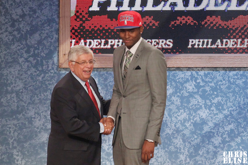 28 June 2012: Maurice Harkless, picked up by the Philadelphia Sixers, poses with David Stern during the 2012 NBA Draft, at the Prudential Center, Newark, New Jersey.
