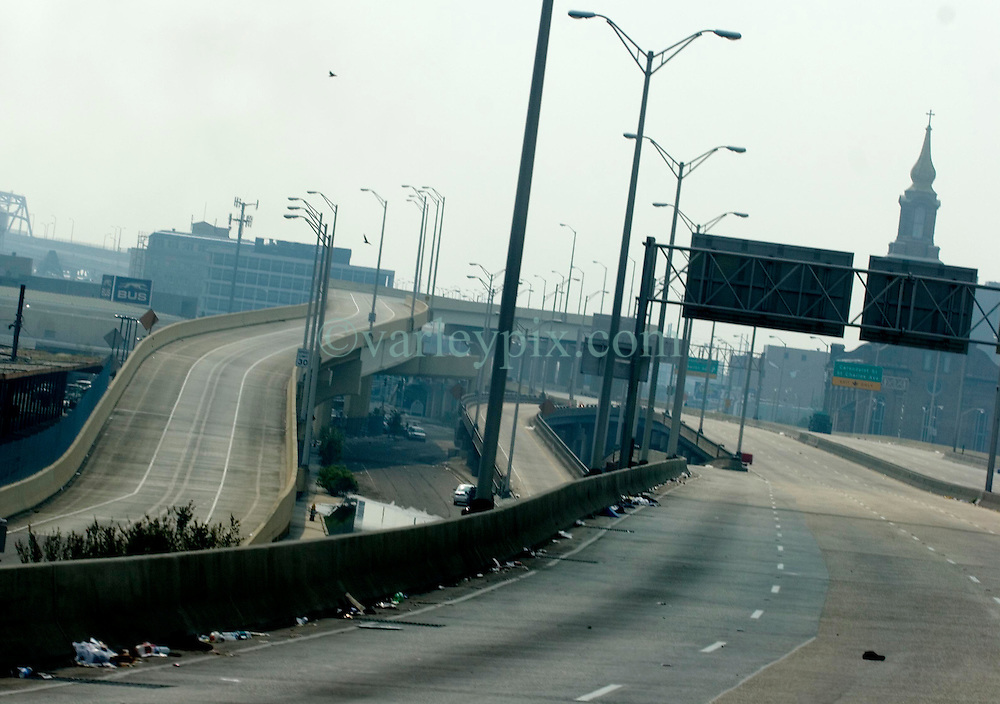 05 Sept  2005. New Orleans, Louisiana. Post hurricane Katrina.<br /> The I-10 highway in central New Orleans is deserted following the devastating hurricane.<br /> Photo; ©Charlie Varley/varleypix.com