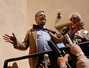 Minuteman Project founder Jim Gilchrist speaks to the media in Tombstone Arizona, April 1, 2005. The Minuteman Project is an all-volunteer group monitoring the US/Mexico border in Arizona for the month of April, reporting all illegal border crossers to the US Border Patrol.<br />