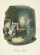 Marley's ghost appearing to Scrooge. Illustration by John Leech (1817-64) for Charles Dickens 'A Christmas Carol', London 1843-1844.