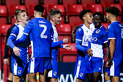 Kieran Phillips of Bristol Rovers celebrates with teammates after scoring a goal to make it 3-1 - Mandatory by-line: Robbie Stephenson/JMP - 29/10/2019 - FOOTBALL - County Ground - Swindon, England - Swindon Town v Bristol Rovers - FA Youth Cup Round One