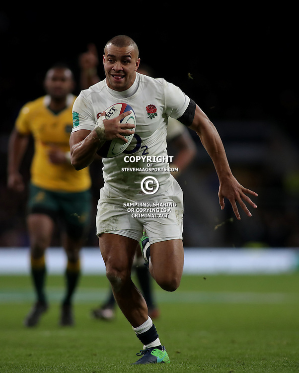 TWICKENHAM, ENGLAND - DECEMBER 03: Jonathan Joseph of England runs through to score a try during the Old Mutual Wealth Series match between England and Australia at Twickenham Stadium on December 3, 2016 in London, England. (Photo by Mitchell Gunn/Getty Images) *** Local Caption ***Jonathan Joseph