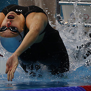 Stephanie Au Hoi Shun, Hong Kong, at the start of the Women's 100m backstroke heats during the swimming heats at the Aquatic Centre at Olympic Park, Stratford during the London 2012 Olympic games. London, UK. 29th July 2012. Photo Tim Clayton