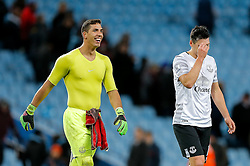 Joel Robles of Everton is all smiles after Everton win 1-3 - Mandatory byline: Rogan Thomson/JMP - 01/03/2016 - FOOTBALL - Villa Park Stadium - Birmingham, England - Aston Villa v Everton - Barclays Premier League.