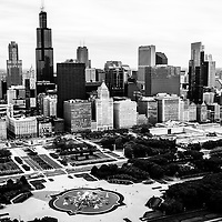 Chicago Aerial Picture in Black and White. Aerial photo of the downtown Chicago skyline including Willis Tower (Sears Tower), Buckingham Fountain, Grant Park, and buildings along Michigan Avenue. Picture is high resolution and was taken in 2013.