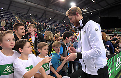 11.03.2016, Leipzig, GER, Handball Länderspiel, Deutschland vs Katar, Herren, im Bild Manuel Späth / Spaeth (GER #36) schreibt // during the men's Handball international Friendlies between Germany and Qatar in Leipzig, Germany on 2016/03/11. EXPA Pictures © 2016, PhotoCredit: EXPA/ Eibner-Pressefoto/ Modla<br /> <br /> *****ATTENTION - OUT of GER*****