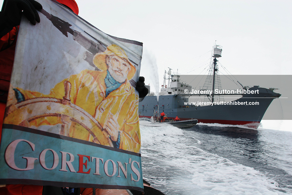 Greenpeace activists try to hinder the hunting of whales by the Kyo Maru No. 2 catcher ship.  Southern Ocean, 11.01.2006