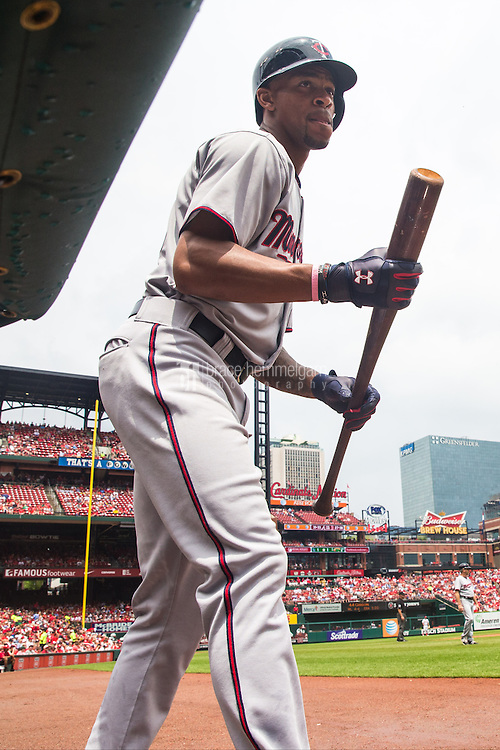 ST. LOUIS, MO - JUNE 16: Byron Buxton #25 of the Minnesota Twins looks on against the St. Louis Cardinals on June 16, 2015 at Busch Stadium in St. Louis, Missouri. The Cardinals defeated the Twins 3-2. (Photo by Brace Hemmelgarn) *** Local Caption *** Byron Buxton