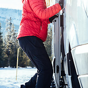 Rhonda Watson climbs aboard the Teton Science School's 4 x 4 Sprinter.