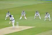 Yorkshire fielders Joe Root, Adam Lyth, Tim Bresnan and Jonny Bairstow waiting for a chance from James Vince of Hampshire during the Specsavers County Champ Div 1 match between Hampshire County Cricket Club and Yorkshire County Cricket Club at the Ageas Bowl, Southampton, United Kingdom on 21 April 2017. Photo by Graham Hunt.