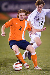 Virginia Cavaliers D Matt Poole (3).  The Virginia Cavaliers Men's Soccer Team lost to the Wake Forest Demon Decons in penalty kicks in the semifinal round of the 2006 ACC Tournament on November 3, 2006 at the Maryland Soccerplex in Germantown, MD.