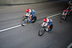 Joëlle Numainville takes the lead position for Cervélo Bigla going into the final 500 metres of the 42,5 km team time trial of the UCI Women's World Tour's 2016 Crescent Vårgårda Team Time Trial on August 19, 2016 in Vårgårda, Sweden. (Photo by Sean Robinson/Velofocus)
